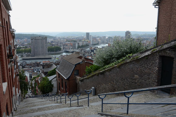 View of Liège from top of Montagne de Bueren