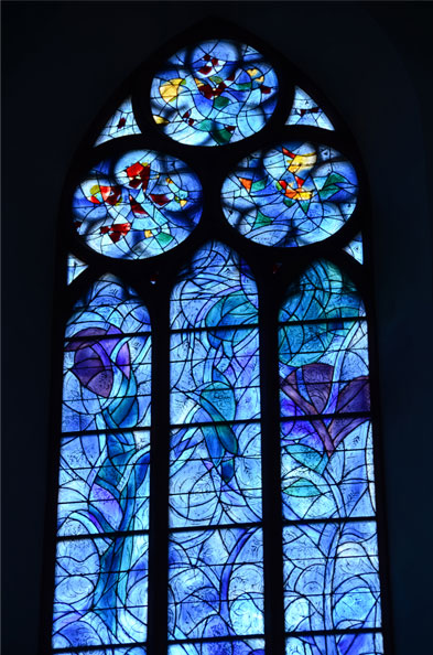 Stained glass windows, St. Stephen's Church, Mainz. Marc Chagall, artist.