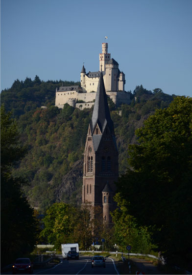 Castle and church, Rhine region.