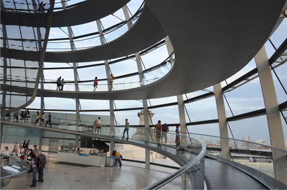 Reichstag building dome, 1999, Berlin. Sir Norman Foster, architect.