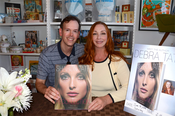Book designer Stephen Schmidt (left) with author Debra Tate