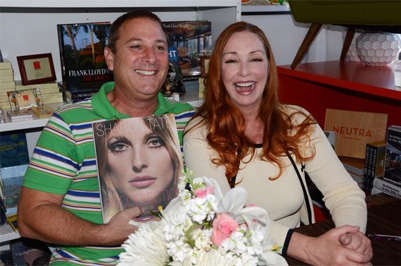 Just Fabulous owner, Stephen Monkarsh (left) with author Debra Tate